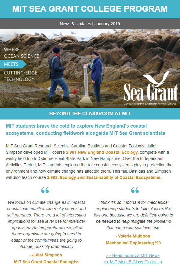 MIT Sea Grant Newsletter from January 2019