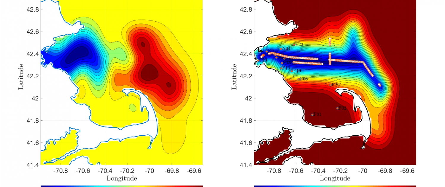 Two salinity maps showing gradients of mostly yellows and reds