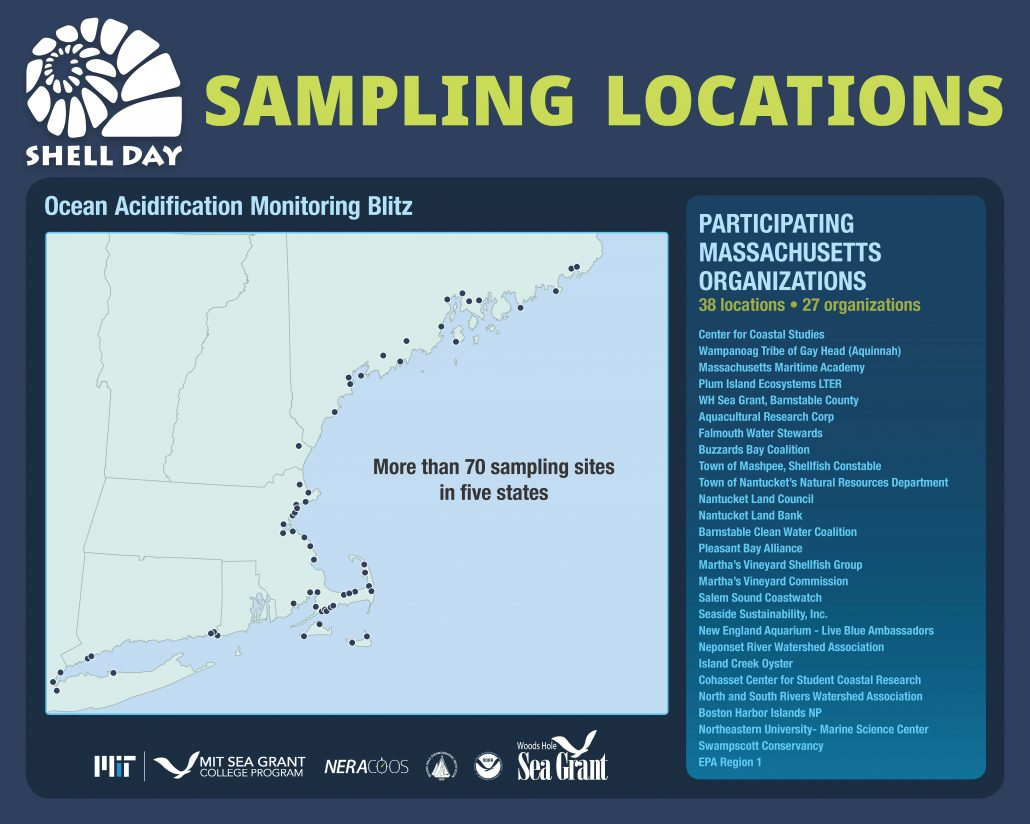 A map of New England showing 70 sampling sites with a list of 27 Massachusetts participating groups.
