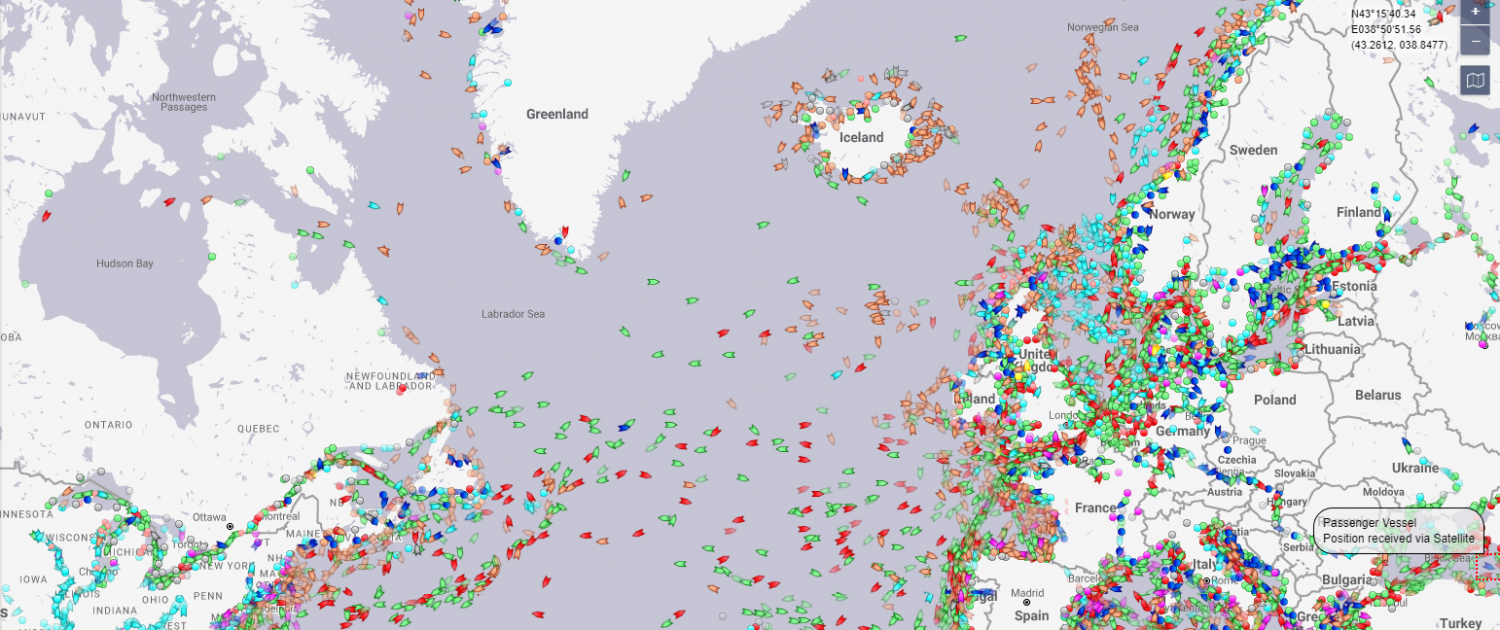 A map showing shipping routes between the Northeast US and Europe, including Norway.