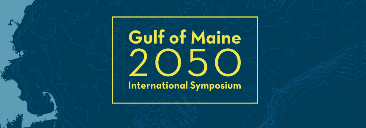 A blue vectorized map of the Gulf of Maine with the symposium logo overlaid