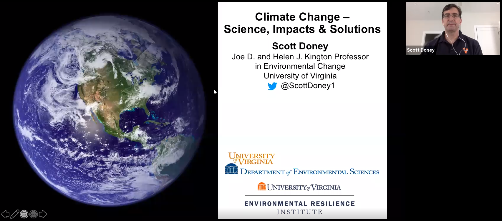 Screenshot of the video lecture showing the earth and Scott Doney