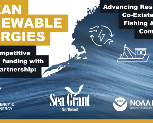 "Graphic with a map of the U.S. Northeast, a wave, and three icons representing renewable energy, a fishing boat, and a community network. The text reads, ""Ocean Renewable Energies; Advancing research for the co-existence of fishing and coastal communities; $1M+ competitive funding opportunity with unique partnership:"" with logos for the Department of Energy EERE Office, Northeast Sea Grant, and NOAA Fisheries."