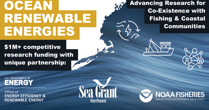 """Graphic with a map of the U.S. Northeast, a wave, and three icons representing renewable energy, a fishing boat, and a community network. The text reads, """"Ocean Renewable Energies; Advancing research for the co-existence of fishing and coastal communities; $1M+ competitive funding opportunity with unique partnership:"""" with logos for the Department of Energy EERE Office, Northeast Sea Grant, and NOAA Fisheries."""