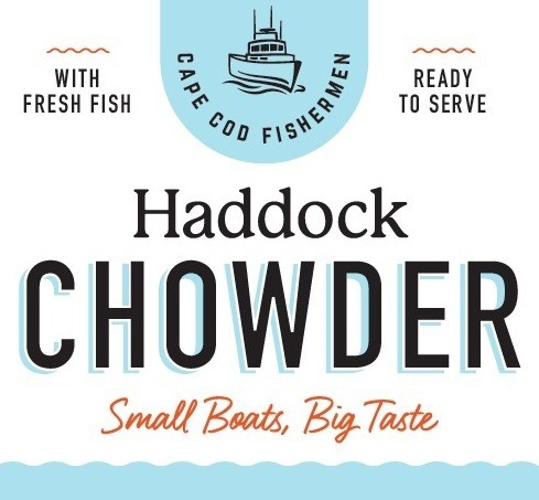 Small Boats, Big Taste Haddock Chowder label design