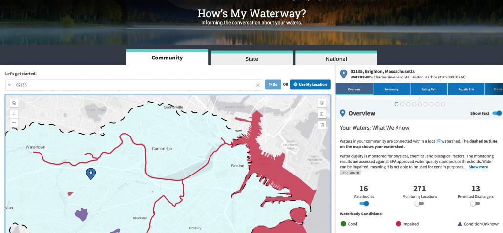 Screenshot of the EPA's How's My Waterway site