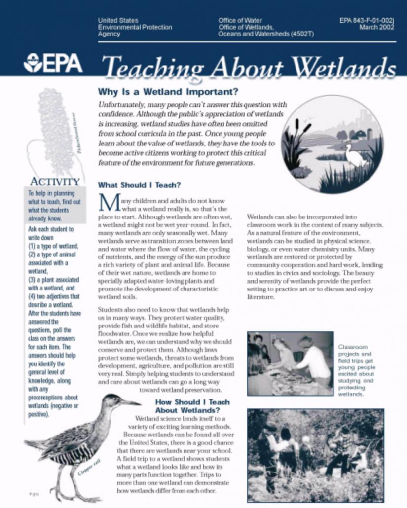 Teaching About Wetlands EPA info sheet