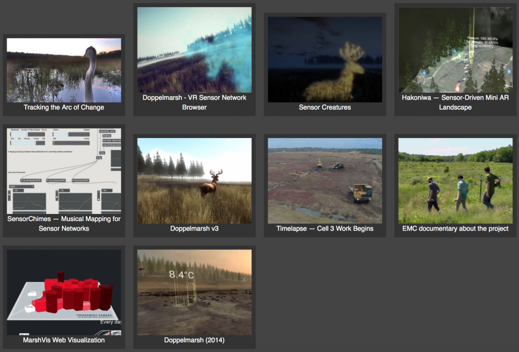 Screen shot of the Tidmarsh Living Observatory page, showing camera feeds and tools