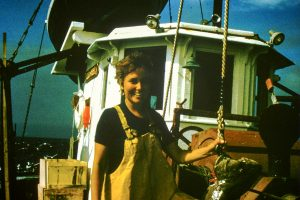 Madeleine Hall-Arber on a fishing vessel as a graduate student